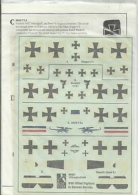 Blue Rider Decals BR227 Captive Allied Fighters in Germany decals in 1:72 Scale