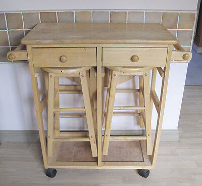 Small Extendable Wooden Kitchen Table & Stools