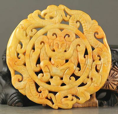 Old Chinese natural jade hand-carved statue of double dragon pendant NO.X572