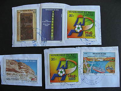 MALI 6 modern stamps mixture (duplicates,mixed condition)postally used on piece