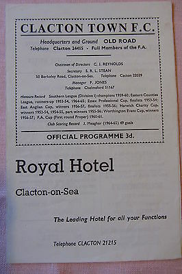 67-68 Clacton Town v Colchester United Essex Prof Cup 18 Oct 1967