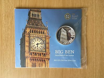 The Royal Mint 2015 UK £100 Big Ben Fine Silver Coin Sealed