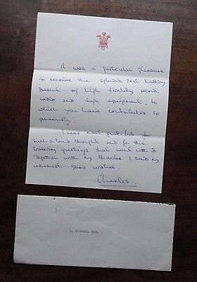 Facsimile Autograph Letter Prince Charles to Cyril Dickman 21st Birthday Present