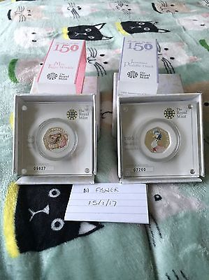 Jemima Puddleduck And Tiggywinkle Silver Proof Coloured 50p Fifty Pence