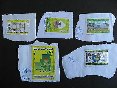 MAURITANIA Sc 781,804,812,817,824 postally used on piece hard to find this