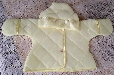 Vintage BABY BUNTING Yellow With  SATIN TRIM & Matching  Hooded Jacket