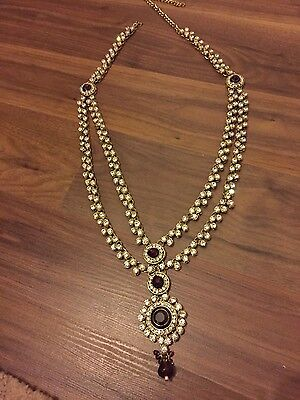 Indian fashion jewellery - wedding diamonte necklace  BOLLYWOOD JEWELLERY