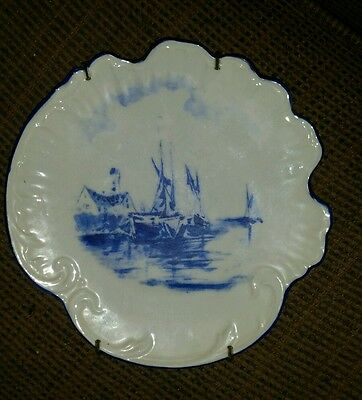 Carlsbad China Plate Antique Vintage flow Blue sailboat Scalloped Austria