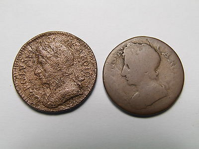 Pair Of Charles Ii Farthing Coins - Early Milled / Copper Coins