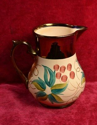 """Antique Signed Wade England Copper Luster Hand Painted 5 1/8"""" Pottery Pitcher"""