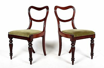 Pair Antique Chairs 2 Victorian Balloon Back Chairs Mahogany 19th Century Side B
