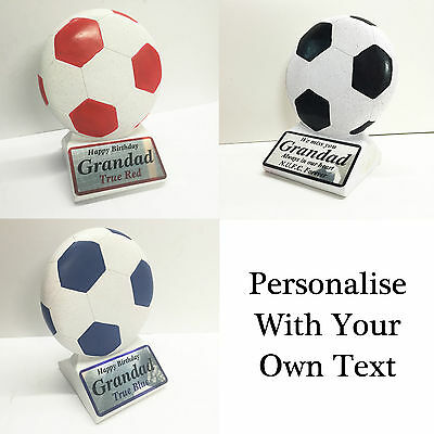 Personalised Football Memorial Ornament Red Black Blue Any Text Graveside Plaque