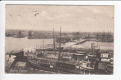 Wales Glamorgan Barry Docks Steam Ships Moored Postcard Posted 1905