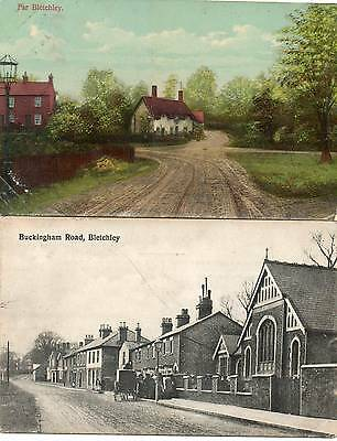 "2 Old Postcards  ""far Bletchley"" 1915 & ""buckingham Road, Bletchley"" 1915"