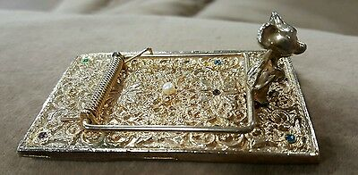 Vintage Brass Mouse Trap Business Card Note Holder