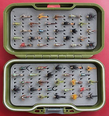GS-VS Fly Box Trout Fly Fishing Flies + Gold headed Nymph Buzzers