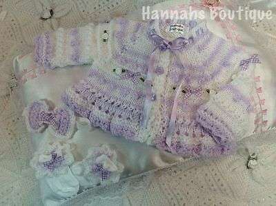 Hannahs Boutique Ooak 3Pc Hand Knitted Set For Newborn Baby Reborn Doll 17-19""