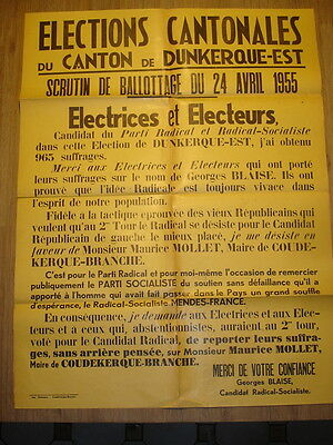 Affiche : Elections Cantonales - Dunkerque - 1955