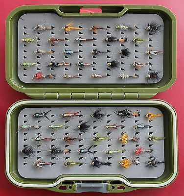 GS-VS Fly Box Trout Fly Fishing Flies + BARBLESS Gold headed Nymph Buzzers