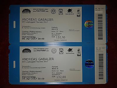 2 Tickets Andreas Gabalier, München Philharmonie, 06.04.2017, Unplugged, Block B