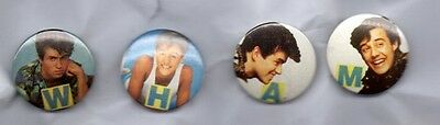 WHAM! SET OF 4 BUTTON BADGES GEORGE MICHAEL ANDREW RIDGELEY 80s POP BAND 25mm
