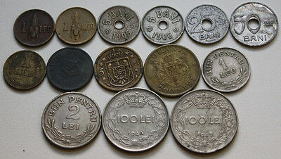 ROMANIA RUMANIEN, LOT OF OLD ROMANIAN COINS, 1905-1947, 14x