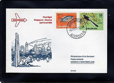 SINGAPORE 1969 First Flight Cover to Geneva as scan
