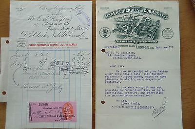 Clarke Nickolls & Coombs London Confectionery Invoice & Letter 1913-1914