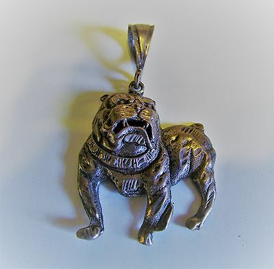 Vintage Large 1 ¾ inch Sterling Silver Pendant Bulldog Very Detailed Open Mouth