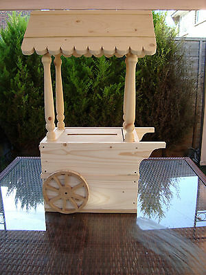 Wooden Wedding Candy Cart post box for sale free postage in the uk unpainted.