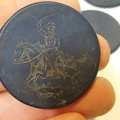 6 Antique Blue Theodore Roosevelt Horse Rough Rider Clay Poker Chips Civil War
