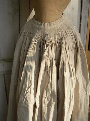Amazing antique 19thC hand stitched linen skirt with monograms