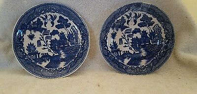 2 Antique Blue Willow Ware Japan Saucers