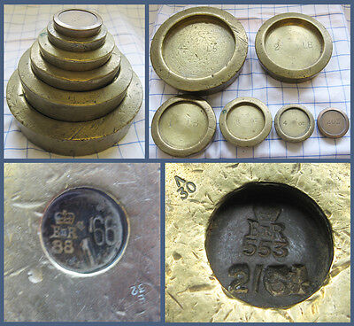 Six Imperial Vintage Brass Kitchen Weights ~ Kitchenalia Collectables
