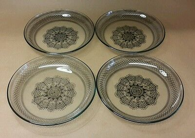 Vintage Chance Fiesta Glass Black Lace Design Plates x 4 Retro 1970's Display