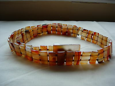 VINTAGE AGATE BUCKLED BELT MADE WITH 58 PIECES OF AGATE - APPROX.246g