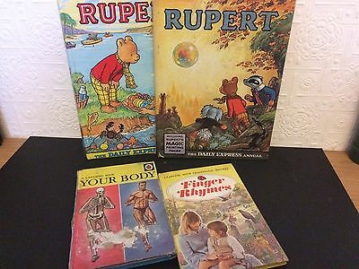 Rupert Bear Annuals & Ladybird 4 Book Bundle Job Lot Vintage Retro Collectable