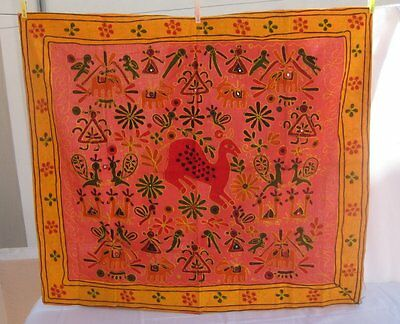 *RARE* Decorative embroidered display cloth /rich colors/ from Rajasthan India