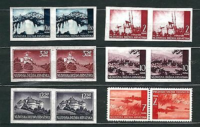 Croatia Independence Ndh Hrvatska Pictorial Partialy Imperforate Mint