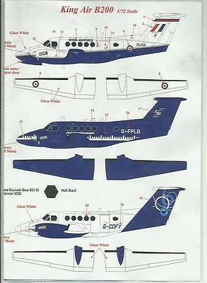 AirDecal decals Beech 200 Royal Air Force decals in 1:72 Scale