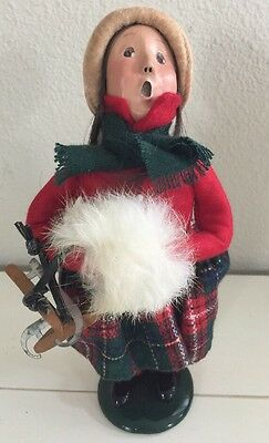 Byers Choice Carolers - Girl with Wooden Ice Skates 1995 Signed 54/100
