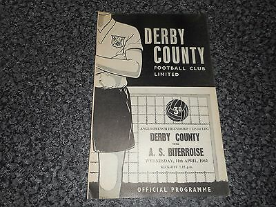 DERBY COUNTY  v  A.S.BITERROISE ( BEZIERS ) FRANCE 1961/2 ANGLO - FRENCH CUP 1st