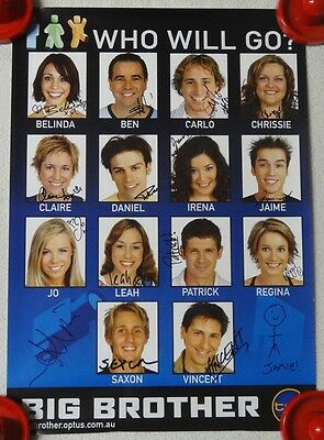 Channel 10 Big Brother 2003 Poster - Hand Signed By Housemates Inc Chrissy Swan
