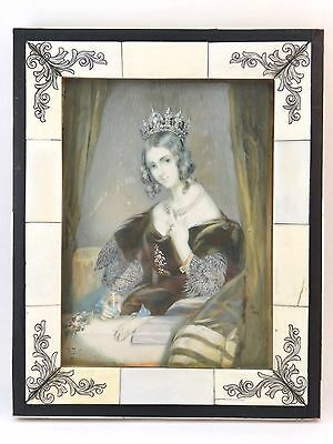 Antique Portrait Miniature Of Regal Lady, Signed 'k. Justy', Piano Key Frame