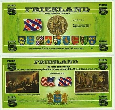 Netherlands / Friesland - Local €5 Banknote, very rarely seen on sale, UNC.