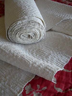 Unused long roll antique French hand woven narrow textured linen fabric