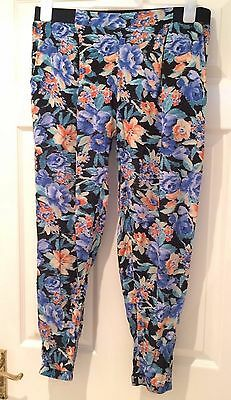 River Island Ladies Blue Floral Trousers Size 12