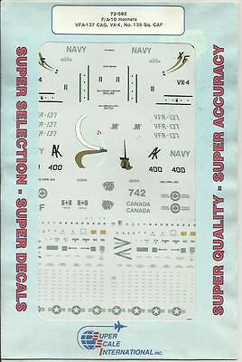 Microscale Superscale 72-592 F/A-18 Hornet US Navy Canadian decals in 1:72 Scale