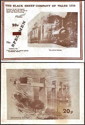 """Wales - Rarely auctioned """"Little Railways of Wales"""" 20p Specimen Banknote. UNC."""
