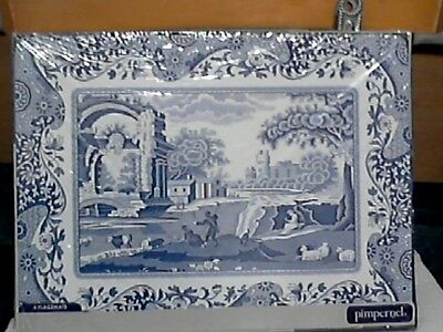 """Boxed Set Of Four Spode Pimpernel Placemats """" Blue Italian """" --  Corked Back"""